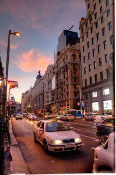 Gran Via street at sunset, Madrid, Spain - this street never sleeps day or night