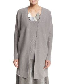 Sequined Long Cashmere Cardigan