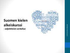 Suomen kielen alkeiskurssi: adjektiivien vertailua Learn Finnish, Your Message, Education, Learning, Training, Educational Illustrations, Study, Onderwijs, Studying