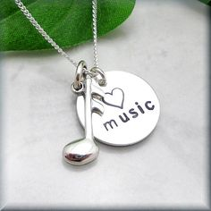 Love Music Note Necklace Sterling Silver Jewelry Music Lover Charm Handstamped Hand Stamped (SN638)