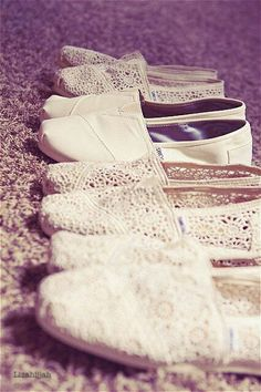 SO CUTE! Your bridal party can easily dance the night away in these comfortable TOMS!