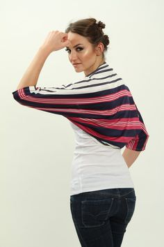 Striped shrug for a layered look! See it on: www.etsy.com/il-en/listing/187250588/on-sale-shrugs-and-boleros-gift-for
