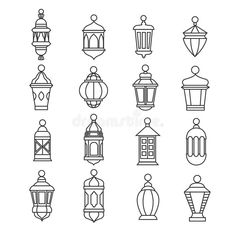 Old oi , drawing Ramadan Vintage Lantern Linear Icons. Vector Muslim Antique Lamp Symbols Stock Vector - Illustration of background, illustration: 83292828 Vintage Lanterns, Lanterns Decor, Lantern Drawing, Ramadan Lantern, Farmhouse Lamps, Vintage Farmhouse, Ramadan Crafts, Lamp Makeover, Stencils
