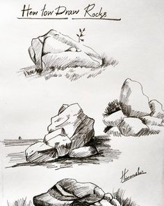 Drawing tips landscape , drawing tips for begi. Drawing Rocks, Pencil Art Drawings, Realistic Drawings, Art Drawings Sketches, Painting & Drawing, Nature Sketches Pencil, Pencil Sketching, Art Illustrations, Landscape Sketch
