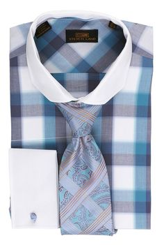 Steven Land Dress Shirt DS1525 | Blue $69 #StevenLand #Style 100% cotton dress shirts classic fit