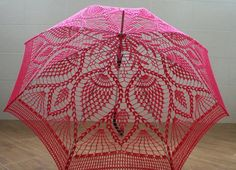 "Lacy umbrella ""Pink Dreams"" (hook) ~ I'd love a lace parasol! Mode Crochet, Crochet Motif, Crochet Doilies, Crochet Flowers, Knit Crochet, Lace Umbrella, Lace Parasol, Pineapple Crochet, Umbrellas Parasols"