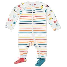 Polarn O. Pyret Funky Scandi Striped All-in-one. Colourful, animal print, newborn, baby clothes.