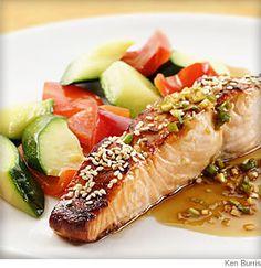 A sweet, tangy and salty mixture of soy sauce, rice vinegar and honey does double-duty as marinade and sauce. Toasted sesame seeds provide a nutty and attractive accent. Make it a meal: Serve with brown rice and sautéed red peppers and zucchini slices.