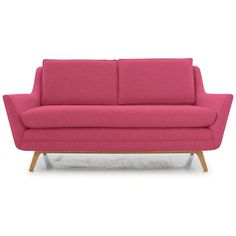 Ryder Mid Century Modern Pink Loveseat (12.925 ARS) ❤ liked on Polyvore