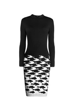 Black illusion-houndstooth knitted jacquard dress | RUMOUR LONDON