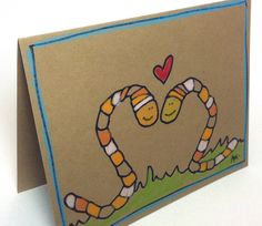 Worm Love hand drawn card on brown recycled paper - for my Wormy