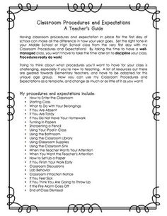 CLASSROOM PROCEDURES AND EXPECTATIONS FOR MIDDLE SCHOOL & HIGH SCHOOL - EDITABLE - TeachersPayTeachers.com