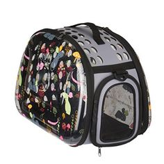 Stylish Folding Pet Carrier Portable Comfort Soft Travel Bag For Cats Transparency Cartoon Print Tote Bag for Dog Cat Small Animal *** More info could be found at the image url.
