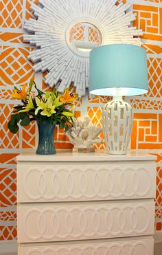 Monochromatic detail in O'verlays against a bold wall.