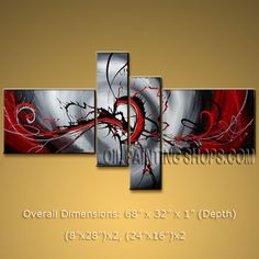 Hand Painted 4 Pieces Modern Abstract Painting Wall Art Artwork Pictures. In Stock $135 from OilPaintingShops.com @Bo Yi Gallery/ ops2243