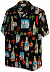 Chili Peppers Hot Sauce Pacific Legend shirt created in Cream and Black. MauiShirts search box stock number :  410-3840