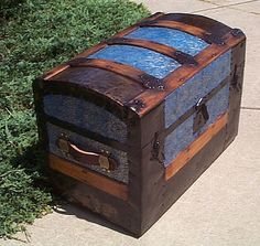 Trunk Re-do. Very similar to the trunk our family brought over from Ireland.