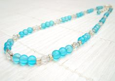 Bohemian Bead Necklace Blue by SempsieJewelry on Etsy, £27.00