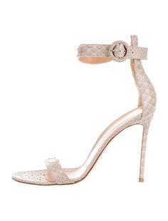 Gianvito Rossi Snakeskin Round-Toe Sandals