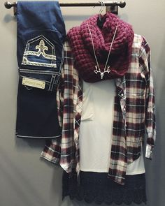 """Rainy Day Fall must haves  Burgundy & Navy Flannel $62 Popcorn infinity Scarf $20 Pocket Tee $30 Deer head Necklace $16 Rock Revival """"Rosemary"""" Bootcut $169  CALL  to order --> 360.716.2982 #shophoitytoity"""