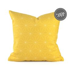 Bright yellow throw pillow cover, featuring geometric pattern of isometric cubes, perfectly stacked together to blend in with your homes modern aesthetics.