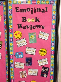 Emojinal book reviews. Emoji bulletin board. Book reviews. Elementary school library.