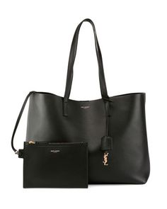 $995.00 Large+Leather+Shopping+Tote+Bag,+Black+by+Saint+Laurent+at+Bergdorf+Goodman.