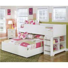 Signature Design by Ashley Lulu Twin Loft Bed with Full Loft Caster Bed - B102-68T+59B+17+B100-11+12