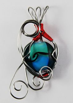 Blue Bead Pendant, Blue and Red Wire Wrap Pendant, Silver Wire Wrap Pendant, Blue Glass Bead Pendant, Gifts for Her