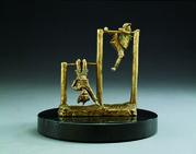 Hangin Around (small)- A bronze sculpture by Mark Hopkins 6x6