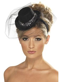 Burlesque Theme Party Supplies | ... Top Hat with Veil & Sequins ~ Burlesque Hen Night Fancy Dress | eBay