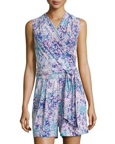Leslie Printed Wrap Romper, Pink Blossom by Catherine Catherine Malandrino at Neiman Marcus Last Call.