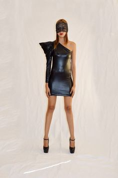 One shoulder sleeve pleather dress by: Oseas Villatoro