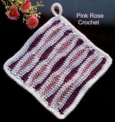PINK ROSE CROCHET : Pega Panelas com Ponto Ondulado Ripple Stitch Pot Holders