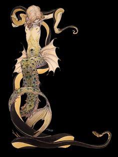 "Mermaid ""Peacock Helix"" by Michael Wm. Kaluta ~ 1980**"