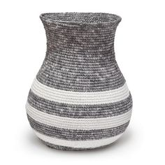 The Sonora Striped basket by Palecek features two hand-woven fabrics in white and greywash over rattan frame. Acceptable for outdoor under roof use. Modern Decor, Scandinavian Furniture, Decor, Metal Wall Decor, Minimal Decor, Tall Basket, Small Item Storage, Contemporary Home Decor, Modern Diy