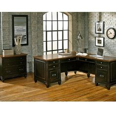 L-Desk with Right Return and Lateral File Set #homeoffice #shopthelook | National Business Furniture