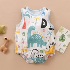 Newborn Baby Sleeveless Dino Print One Piece Romper baby girls, baby boy, baby girl fashion, baby bo Baby Outfits Newborn, Baby Boy Outfits, Kids Outfits, Cute Baby Boy, Cute Little Baby, Baby Girls, Vintage Baby Clothes, Baby Kids Clothes, Take Home Outfit