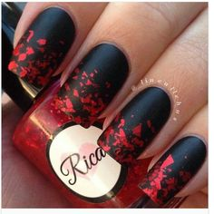 Black with red flecks