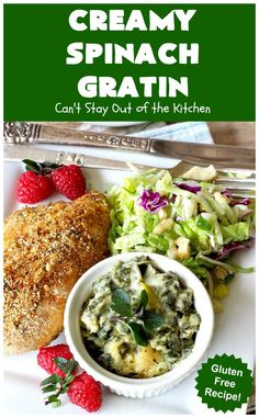 Creamy Spinach Gratin – Can't Stay Out of the Kitchen Spinach Gratin, Spinach Casserole, Vegetable Casserole, Spinach Rolls, Cooking With Olive Oil, Creamy Spinach, Easy Casserole Recipes, Spinach Recipes
