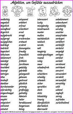 good for topic fairy tales: adjectives to describe feelings German Grammar, German Words, The Words, Writing A Book, Writing Tips, German Resources, German Language Learning, Learn German, Writing Inspiration