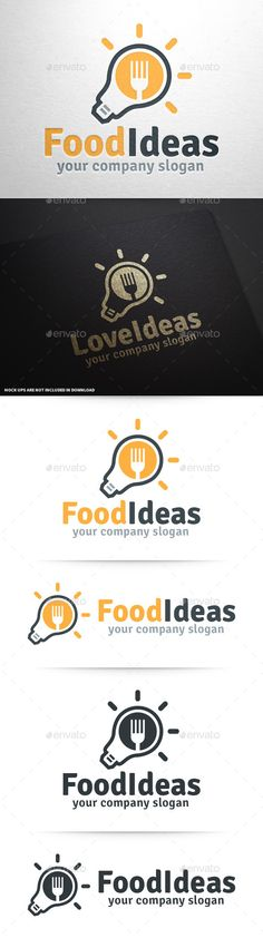 Food Ideas Logo Template — Photoshop PSD #cafe #mind • Available here → https://graphicriver.net/item/food-ideas-logo-template/9997284?ref=pxcr