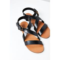 Maddie Leather Sandal ($39) ❤ liked on Polyvore featuring shoes, sandals, flat strap sandals, strappy sandals, cross strap shoes, cross strap sandals and leather flat shoes