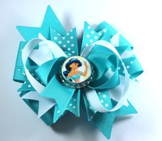 Boutique Princess Jasmine Inspired Bottle Cap Hair Bow Clip by prettybowtique on Etsy