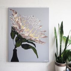 Anya Brock Protea paintings and prints as featured on The Block. Protea Art, Protea Flower, Cute Canvas Paintings, Original Paintings, Canvas Prints, Pencil Painting, Figure Painting, Painting Inspiration, Art Inspo