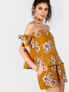 4d85bb5f8e6b7 Floral Tie Sleeve Bardot Top And Shorts Co-Ord Bardot Top