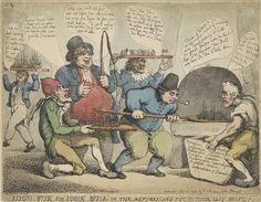 Thomas Rowlandson | Schepen bakken voor de Britten, 1798, Thomas Rowlandson, 1798 | Spotprent waarin de Hollanders, Fransen en Spanjaarden verwoed oorlogsschepen bakken in een 'Dutch Oven', 1798. John Bull kijkt lachend toe en maant ze tot harder werken. Naar aanleiding van de oorlogsschepen gebouwd voor de Franse invasie van Groot-Brittannië, maar die bij de zeeslag om Kamperduin (11 oktober 1797) door de Britten werden veroverd. Linksboven genummerd: No. 19.
