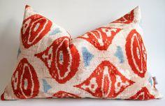 Sukan / SET (2 Piece) SALE Handwoven Silk Velvet Ikat Pillow Cover Decorative Lumbar Throw Bohemian Chic Boho Girls Nursery on Etsy, $139.95