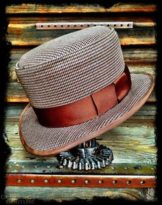 2623be8ce58 Pembroke English Pork Pie Welsh Highland Mens Hat Black and Brown  Houndstooth Steampunk Victorian Dandy