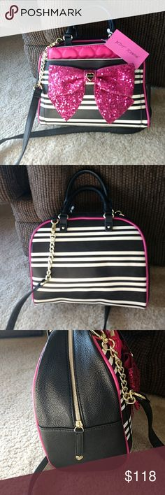 Betsey Johnson black stripes with pink sequin bow Pink and black satchel with pink quilted pouch. Item BM19430 Betsey Johnson Bags